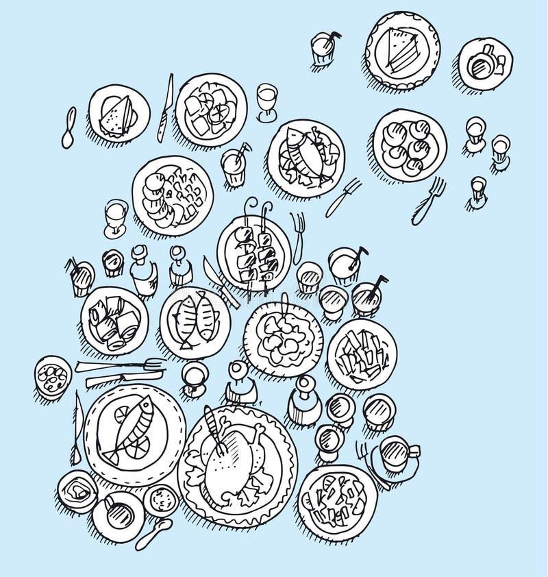 Vista assortita del piatto da sopra illustrazione vettoriale