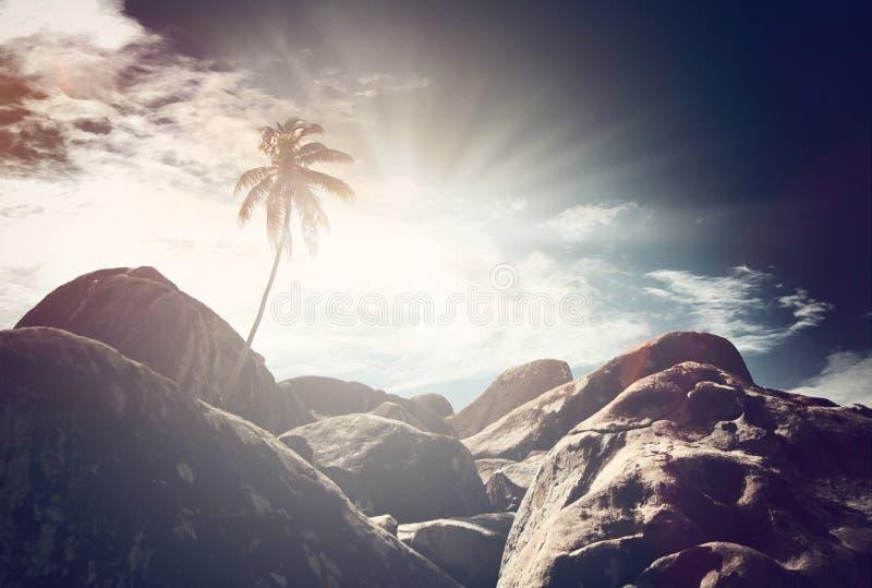 Vista atmosferica di Virgin Gorda, caraibica fotografie stock libere da diritti