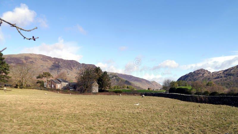 Vista através do campo abaixo do vale de Borrowdale fotografia de stock royalty free