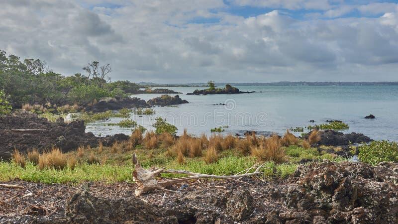 Vista através do golfo do hauraki da ilha de Rangitoto imagem de stock royalty free
