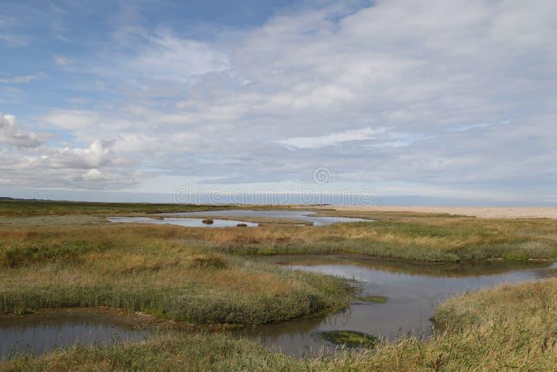 Vista através dos pântanos de sal em Cley imagem de stock
