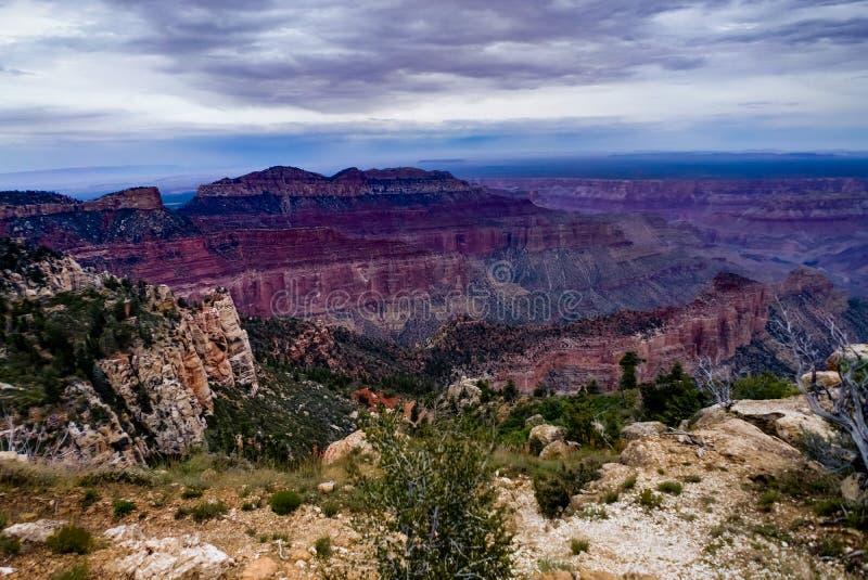 Vista attraverso Grand Canyon Rim Arizona del nord fotografia stock libera da diritti