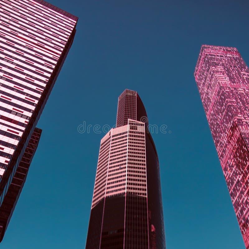 Vista attraverso l'alto grattacielo in aumento moderno verso l'alto a cielo blu immagini stock