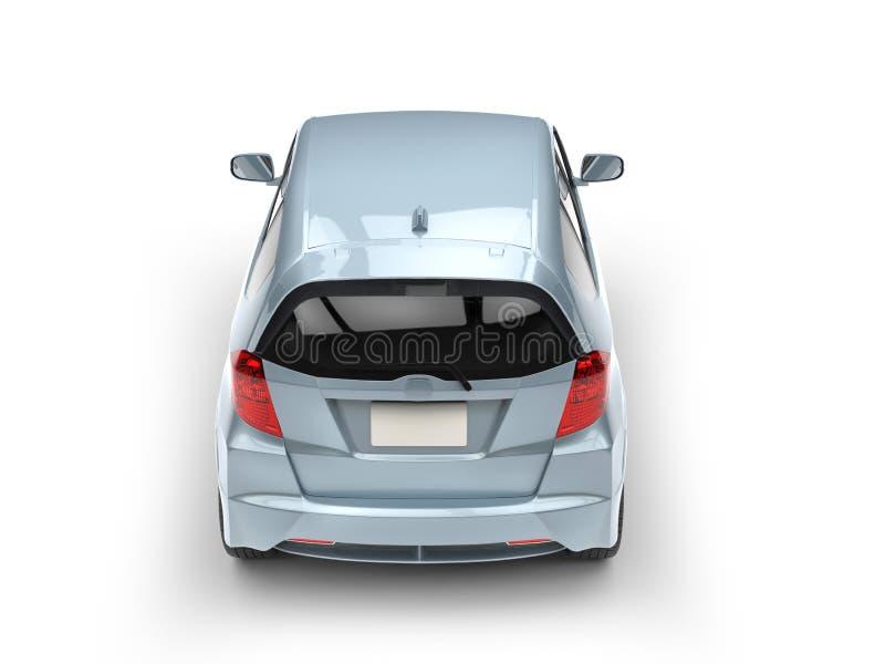 Vista automobilistica compatta moderna metallica blu-chiaro della parte posteriore della cima royalty illustrazione gratis