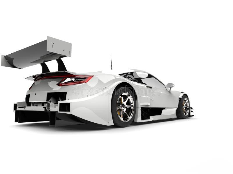 Vista automobilistica eccellente della coda della corsa moderna bianca fresca illustrazione di stock