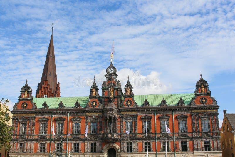 Vista ayuntamiento Malmö en Suecia imagenes de archivo