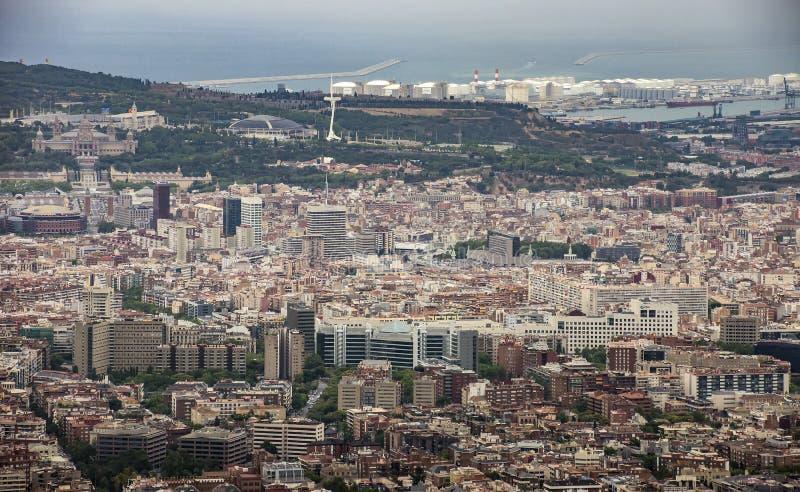 Vista a Barcelona de Tibidabo fotografia de stock