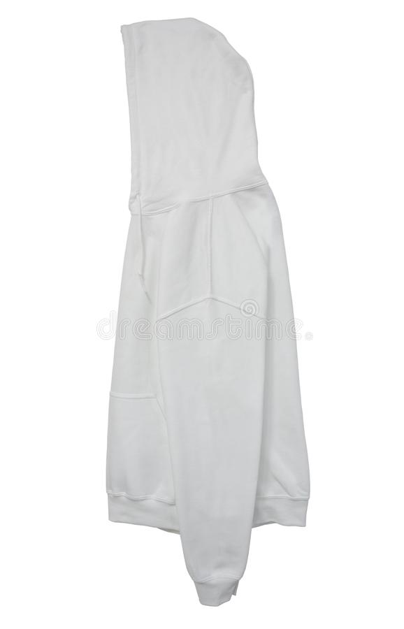 Vista bianca del braccio laterale di maglia con cappuccio di colore in bianco della maglietta felpata fotografia stock libera da diritti