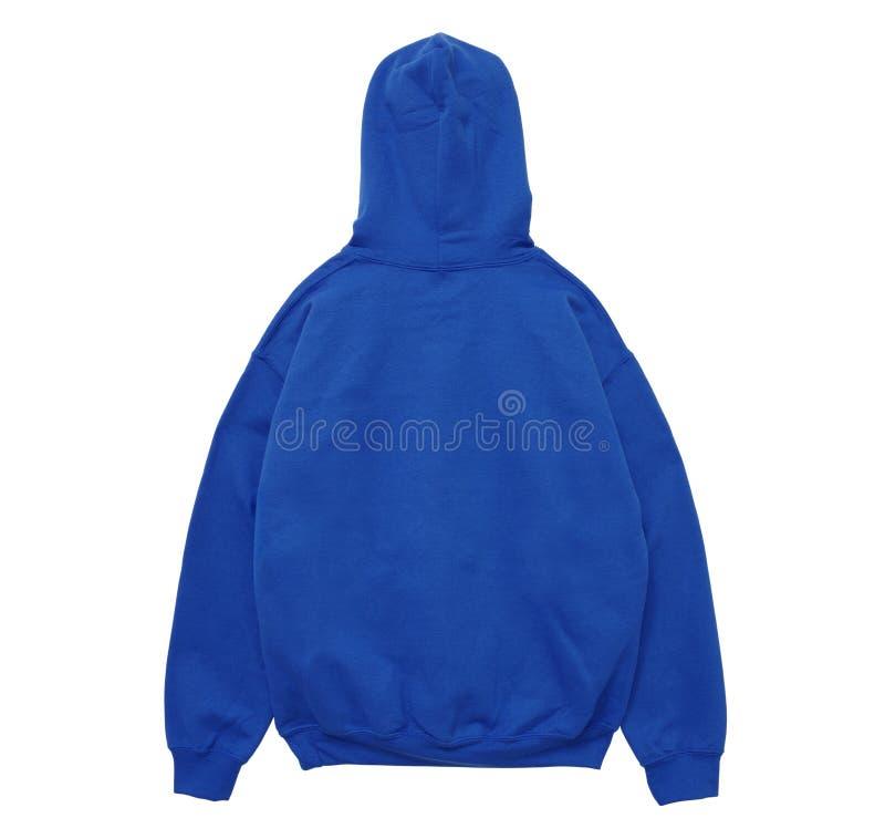 Vista in bianco della parte posteriore del blu di colore della maglietta felpata di maglia con cappuccio immagini stock