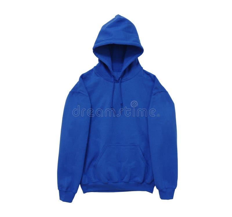 Vista blu del braccio anteriore di maglia con cappuccio di colore in bianco della maglietta felpata fotografia stock libera da diritti