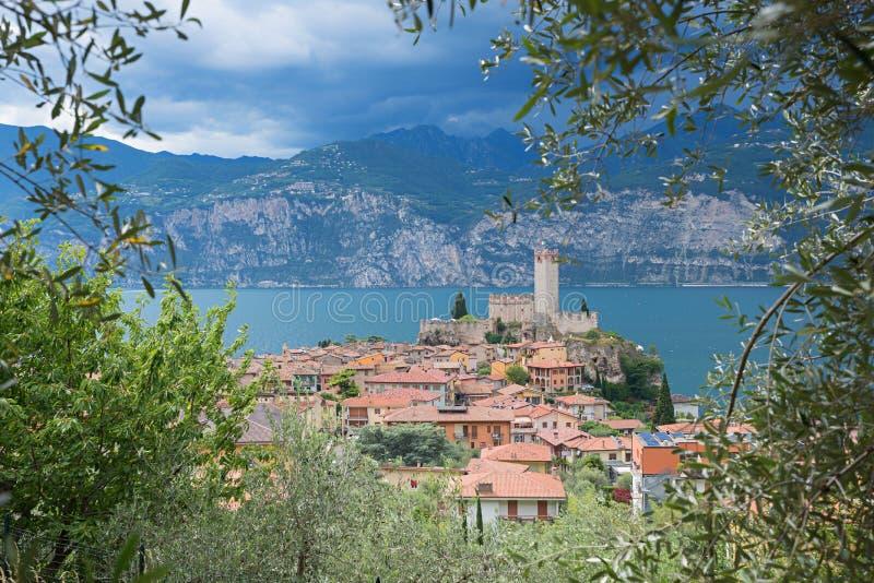 Vista bonita através dos ramos de oliveira ao destino mal do turista fotos de stock