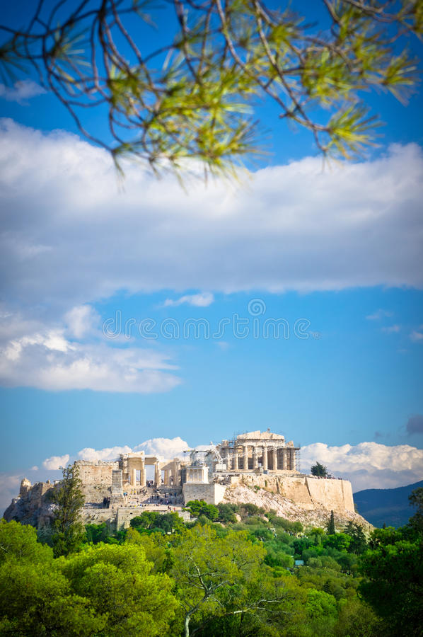 Vista bonita da acrópole antiga fotografia de stock