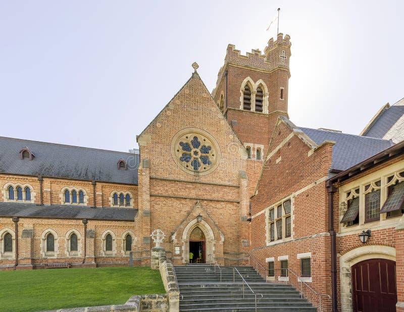 Vista bonita da catedral de St George na luz da manhã, Perth, Austrália Ocidental imagens de stock