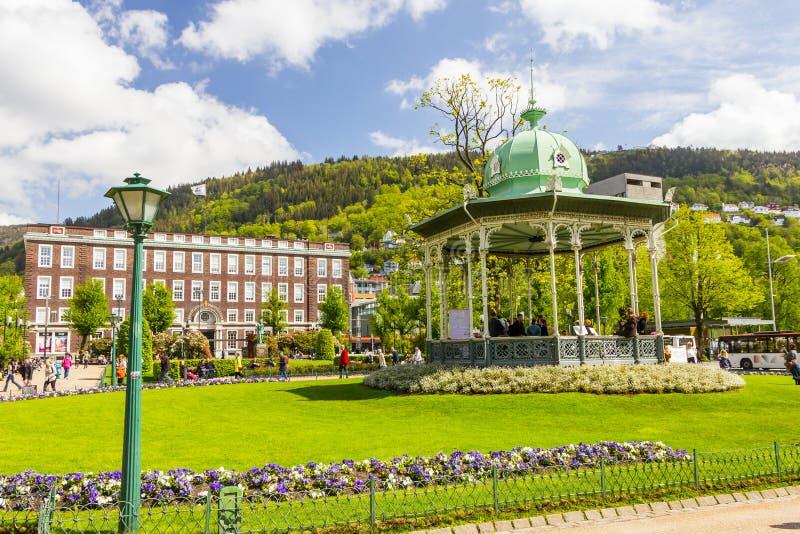 Vista bonita da cidade de Bergen, Noruega fotos de stock