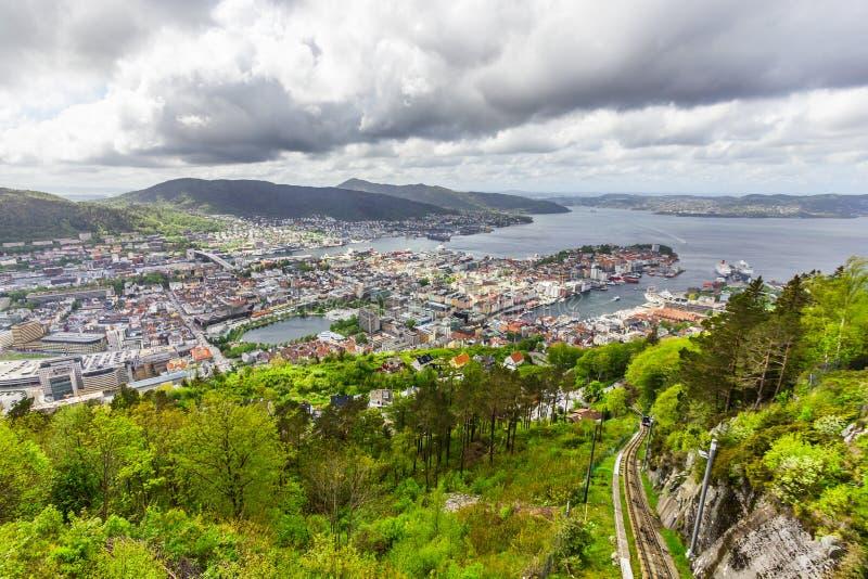 Vista bonita da cidade de Bergen, Noruega fotografia de stock royalty free