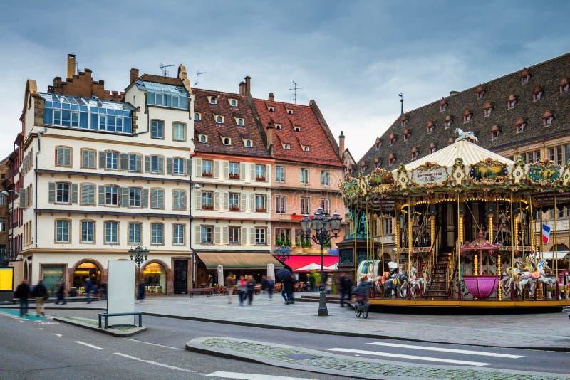 Vista bonita da cidade histórica de Strasbourg, hous colorido foto de stock royalty free
