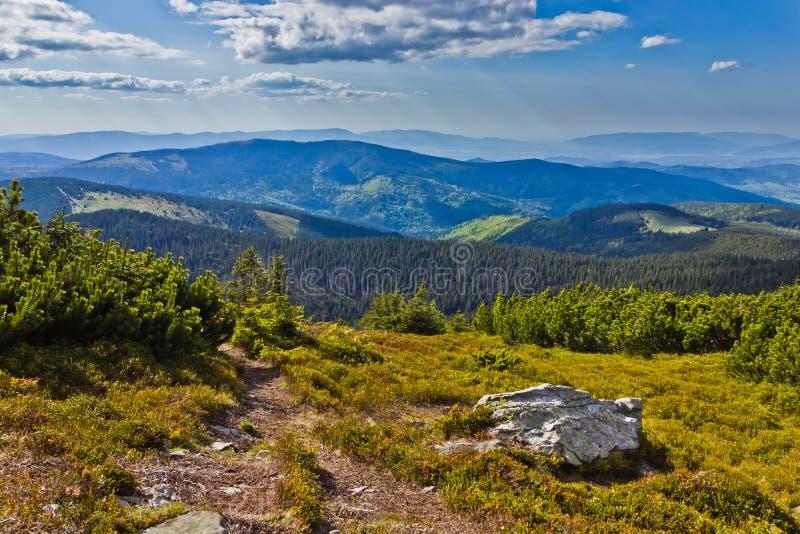Vista bonita da fuga de montanhas de Beskidy foto de stock