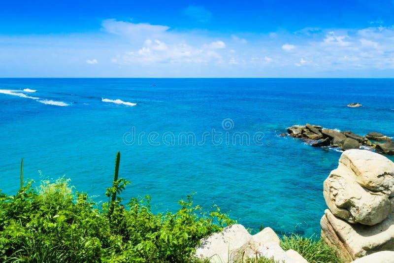 Vista bonita da praia em Cabo San Juan, parque nacional natural de Tayrona, Colômbia imagens de stock royalty free