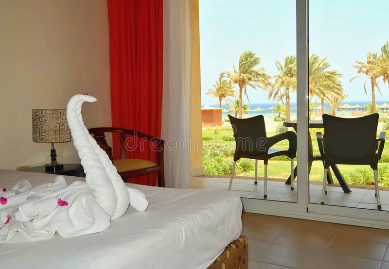 Vista bonita da sala de hotel através do terraço na praia idílico com palmeiras - Mar Vermelho, Egito imagem de stock royalty free