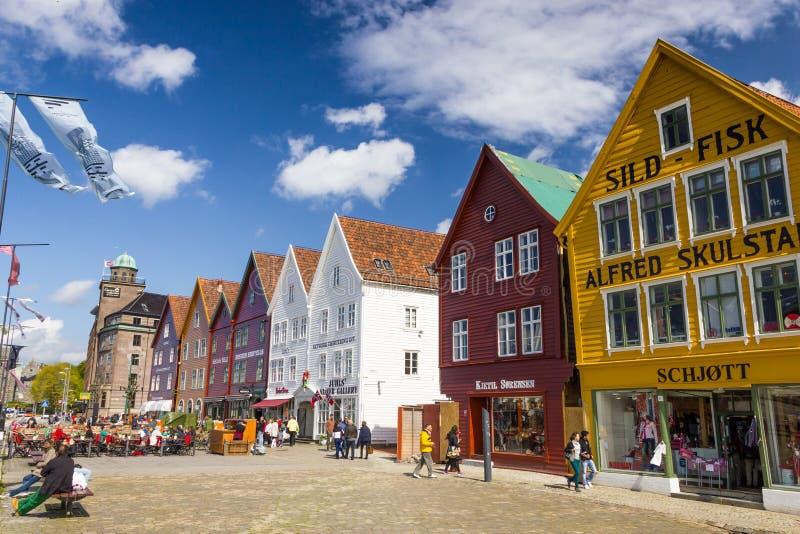 Vista bonita de buidings históricos de Bryggen em Bergen, Noruega foto de stock