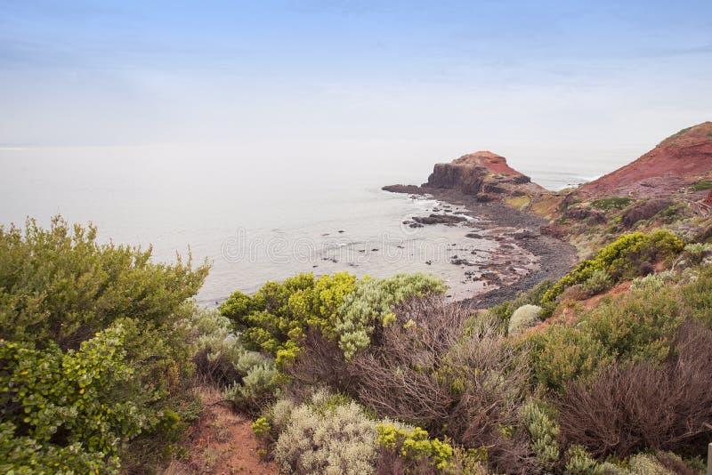 Vista bonita de Bushland e de oceano, cabo Schanck fotos de stock royalty free