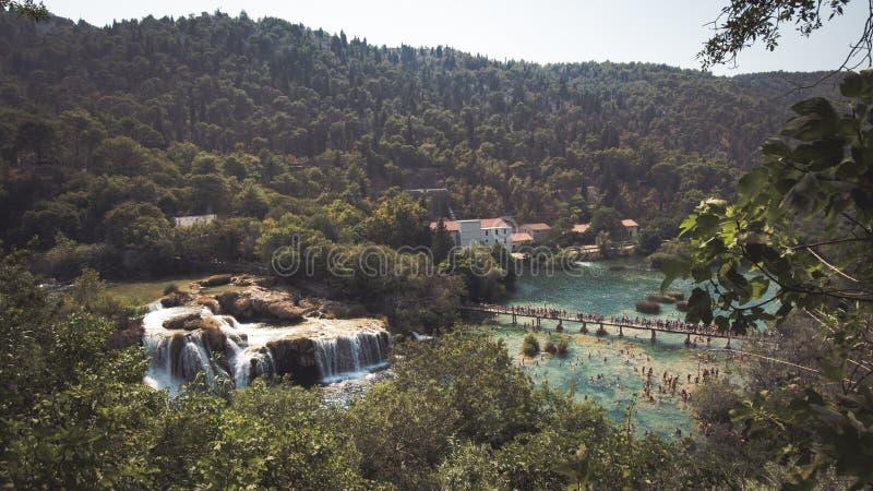 Vista bonita de lagos Plitvice, Croácia fotos de stock royalty free