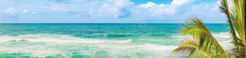 Vista bonita de ondas do mar Paisagem tropical Panorama fotografia de stock