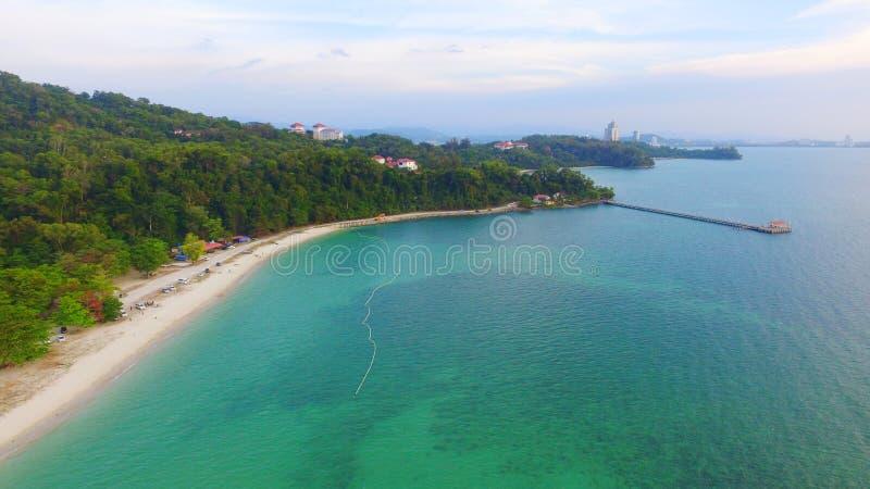 Vista bonita de Pantai Odec Universiti Malásia Sabah fotografia de stock royalty free