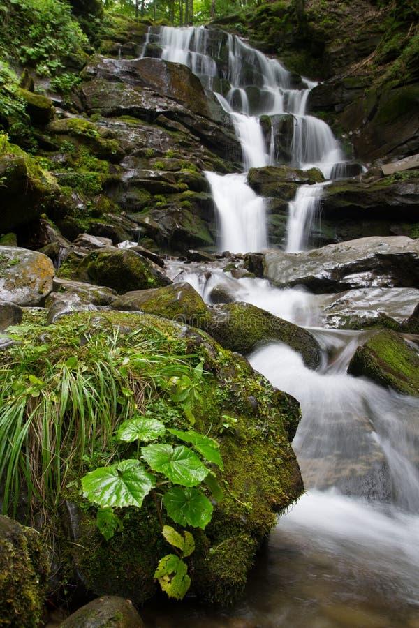 Vista bonita de uma cachoeira nas montanhas imagem de stock royalty free