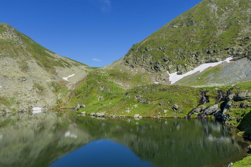 Vista bonita do lago da montanha alta Ajardine do lago capra em montanhas de Romênia e de Fagaras no verão fotos de stock royalty free