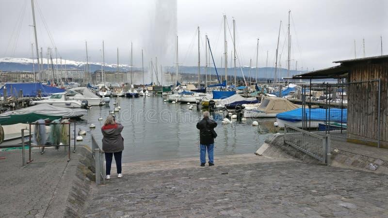 Vista bonita do lago de Genebra foto de stock