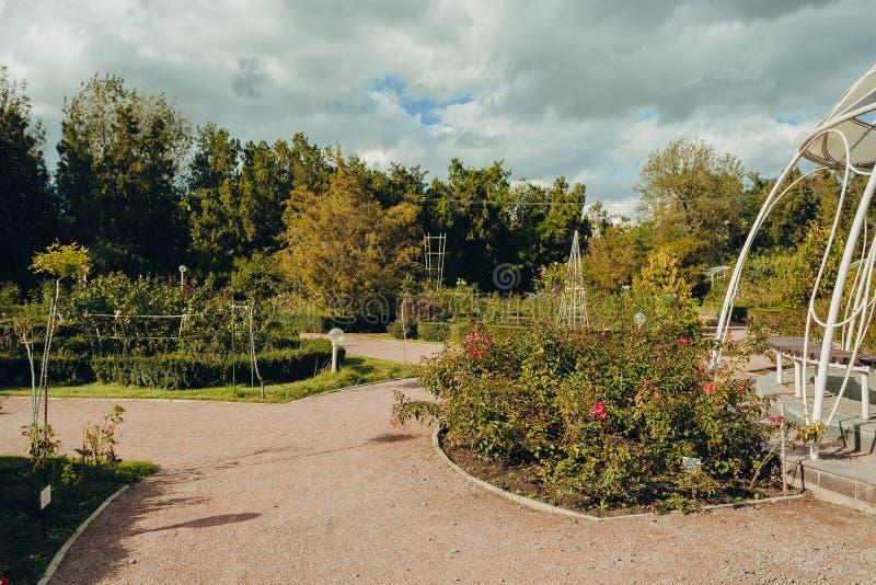 Vista bonita do parque verde da cidade com camas de flor imagem de stock