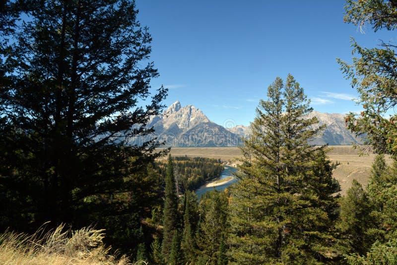 Vista bonita do rio Snake em Jackson Hole Valley no parque imagens de stock