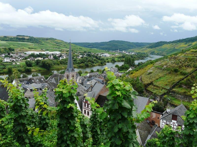 Vista bonita do vale cênico do rio de Moselle, Rhineland-palatinado, Alemanha imagens de stock