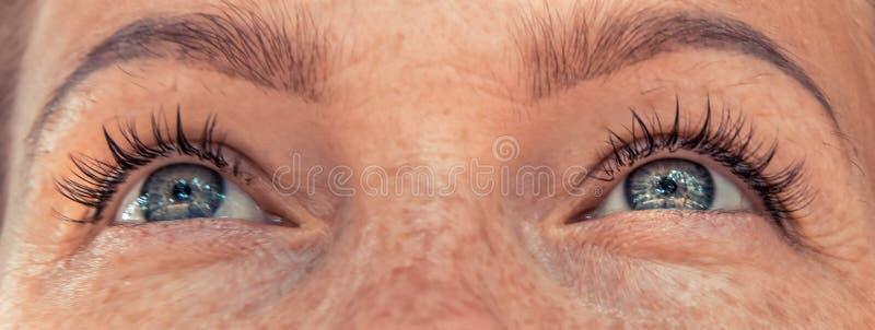 Vista bonita dos olhos da mulher fotos de stock