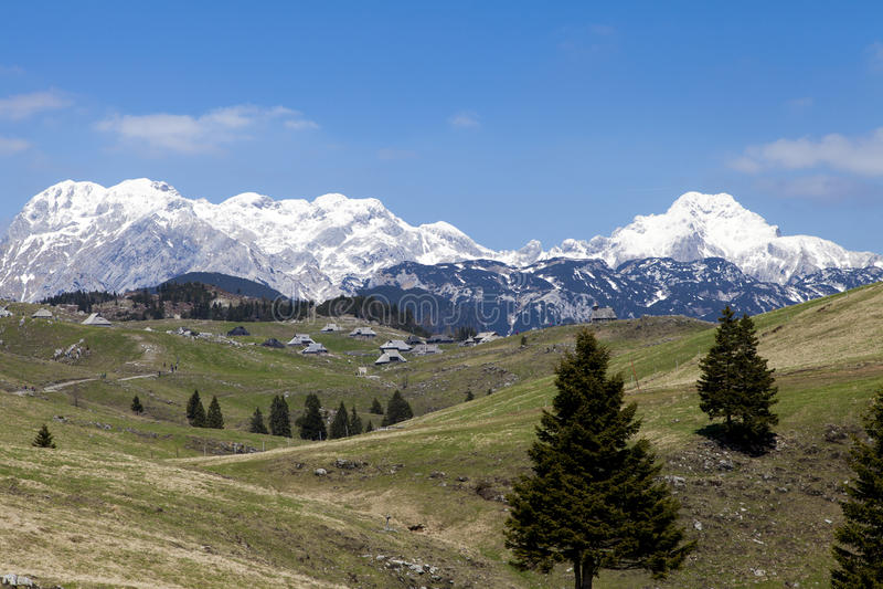 Vista bonita na vila do pastor, planina Eslovênia de Velika do planalto foto de stock