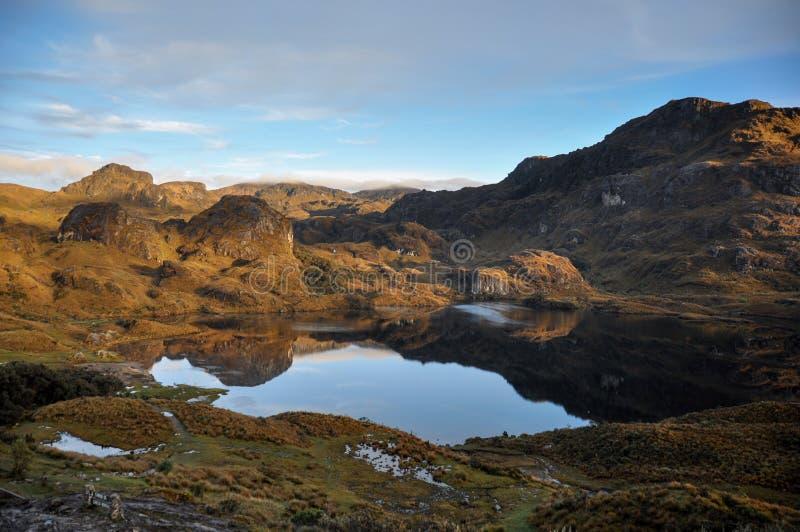 Vista bonita sobre o parque nacional do EL Cajas, Equador imagens de stock royalty free