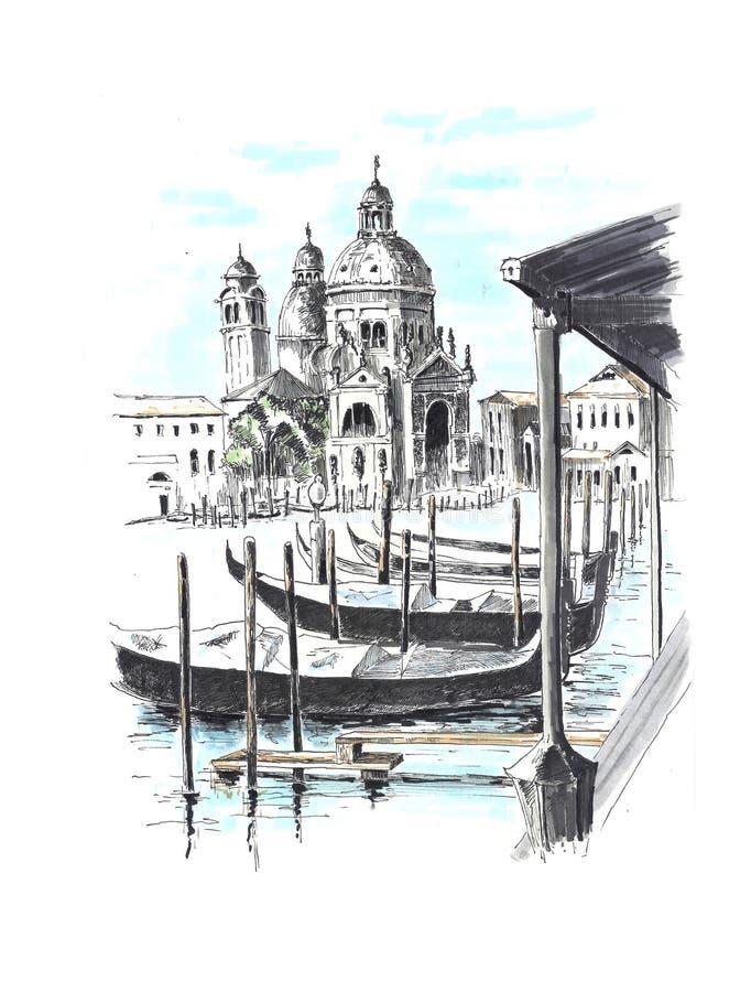 A vista bonita a um dos canais venetian ilustração stock
