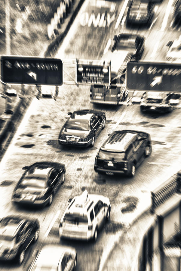 Vista borrosa del tráfico de Nueva York Calle de arriba foto de archivo libre de regalías