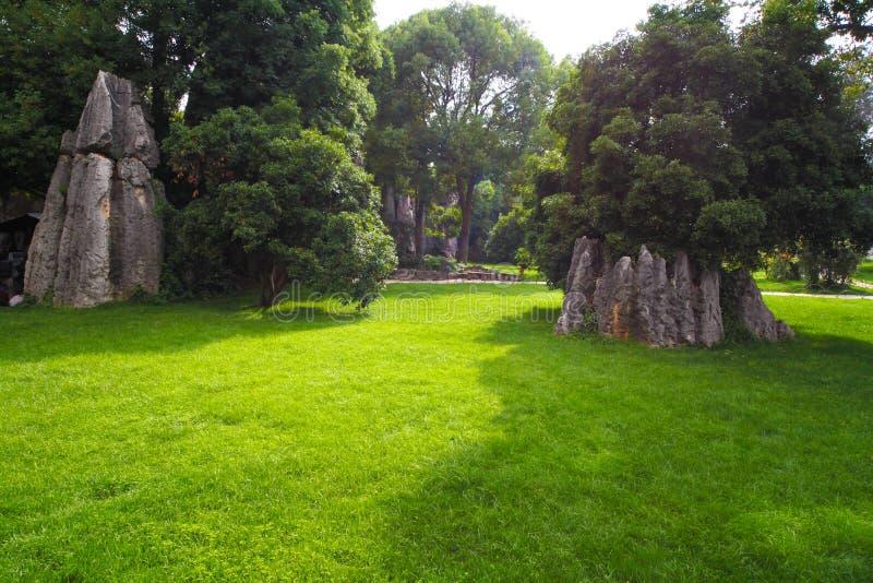 Vista cénico na floresta de pedra ou no Shilin de Kunming fotos de stock royalty free