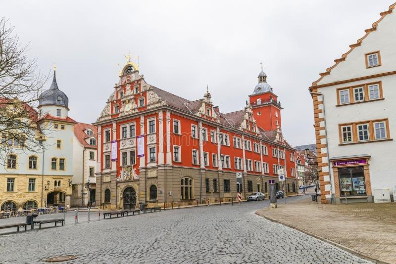 Vista cênico à câmara municipal velha em Gotha fotografia de stock