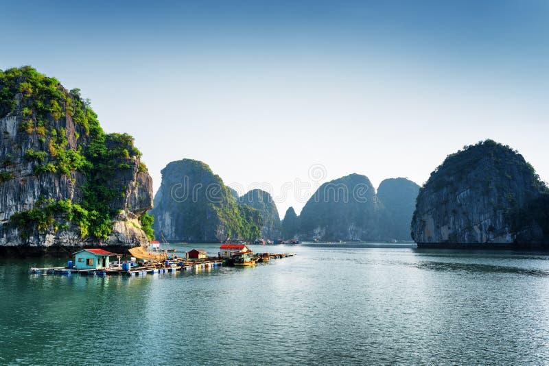 Vista cênico da aldeia piscatória de flutuação na baía longa do Ha fotos de stock
