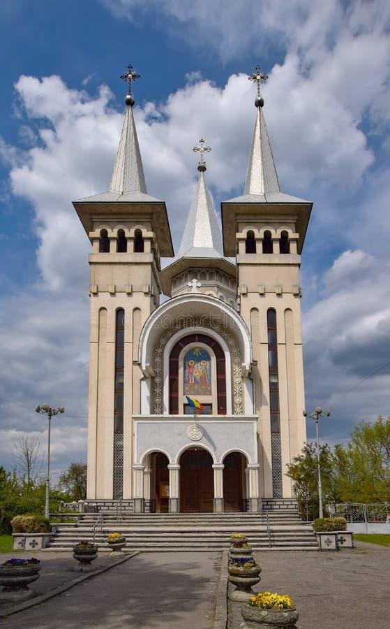 Vista cênico da catedral ortodoxo dos arcanjos Michael e Gabriel em Sighet, Maramures, Romênia imagem de stock royalty free