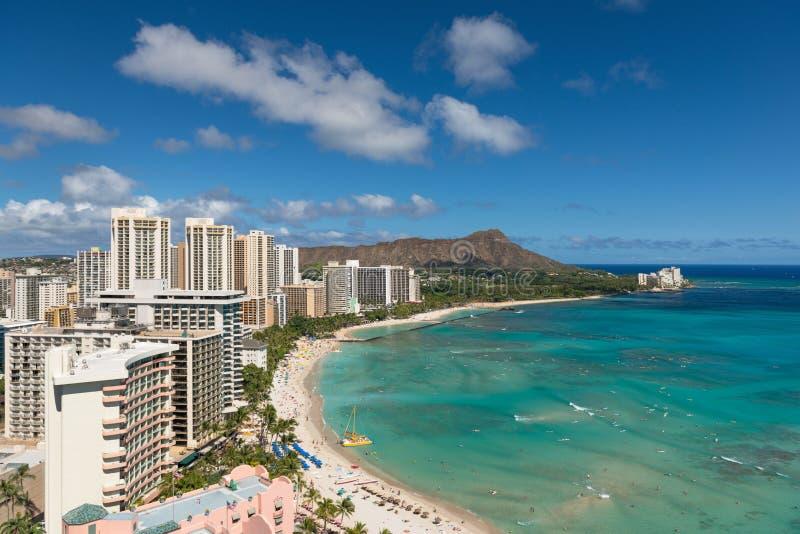 Vista cênico da praia de Waikiki no verão foto de stock