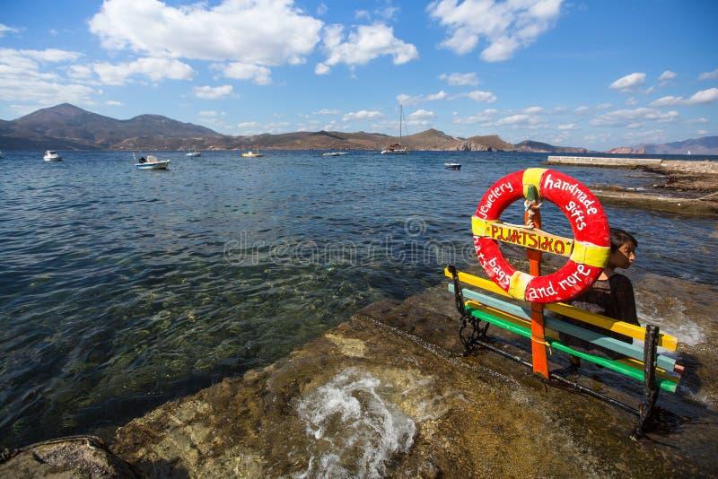 Vista cênico da vila tradicional Klima do pescador na ilha foto de stock