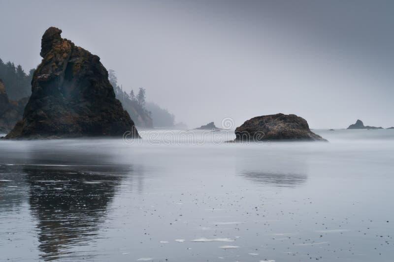 Vista cênico das ilhas com névoa em Ruby Beach fotografia de stock royalty free