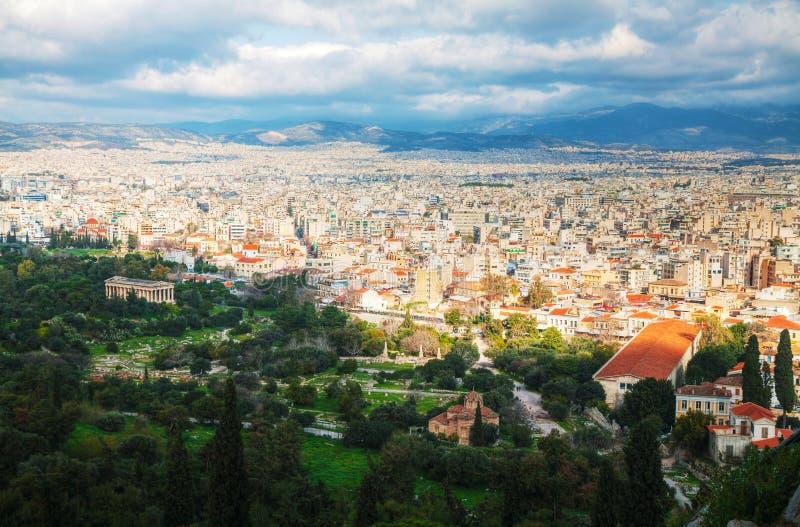 Vista cênico de Atenas, Grécia fotos de stock