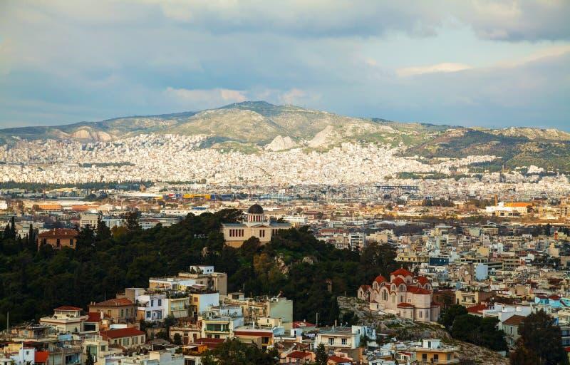 Vista cênico de Atenas, Grécia fotografia de stock