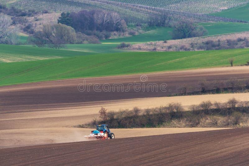 Vista cênico do trator de cultivo moderno que arando Brown coloque Trator que cultiva o campo Trator azul pequeno com arrasto ver imagem de stock