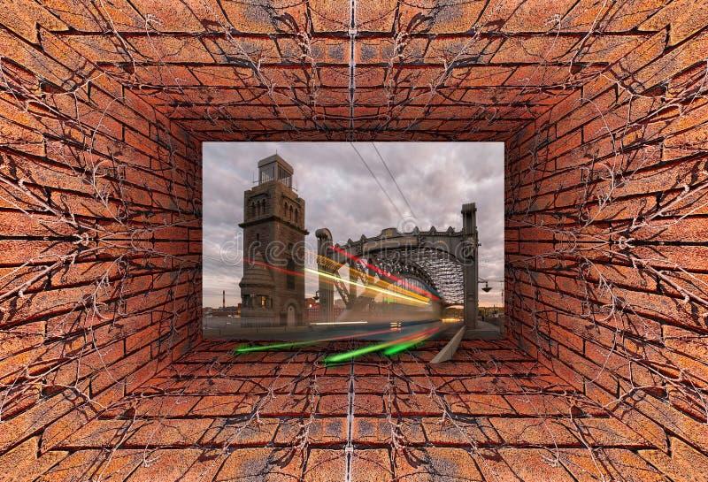 Vista caleidoscopica di pendenza 3D di vecchio tunnel con il muro di mattoni e l'edera asciutta che forniscono fiume nel d'acciai immagine stock libera da diritti